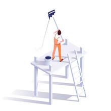 Wall Painter Isometric Vector Illustration