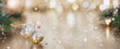 canvas print picture - Christmas decoration on abstract gold background, close up