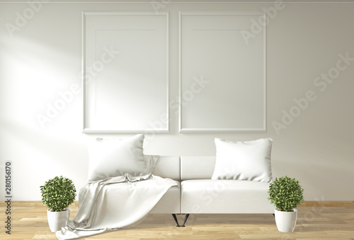 Modern zen living room interior with sofa and green plants ...