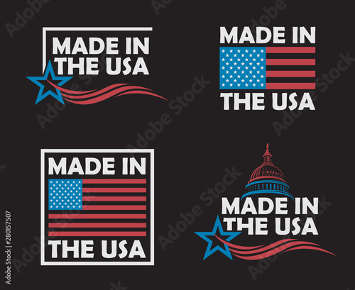 collection of made in the usa labels isolated on black background Tableau sur Toile