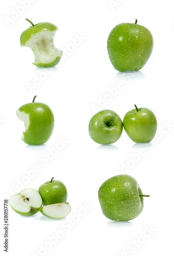 Poster Légumes frais Green apple collection isolated on white background (set)