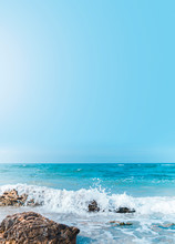 Soft Wave Crashing Stone At Bay. Stones By The Sea. Sea Wave Breaks On Beach Rocks Landscape. Sea Waves Crash And Splash On Rocks. Beach Rock Sea Wave Breaking.