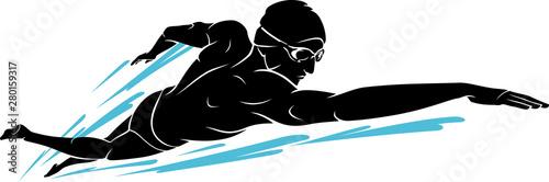 Obraz na plátně Swim Front Crawl, Male Silhouette