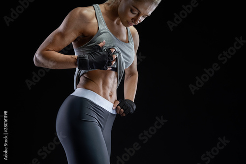 Close-up photo of healthy fit young woman strong abs Fototapet