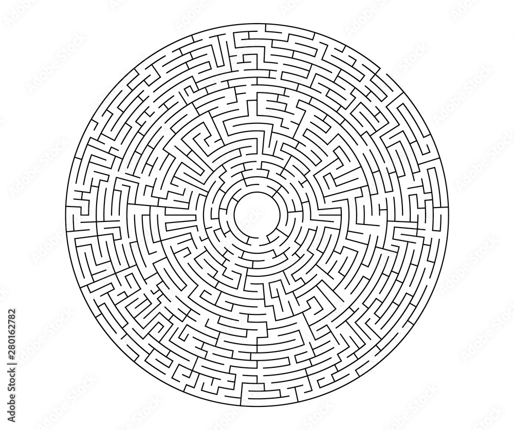 Fototapeta Black vector labyrinth in flat style on an isolated white background. Round maze puzzle. A game for the of logic, intelligence, find the way exit from the circle.