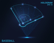 Hologram Baseball. A Holographic Projection Of The Baseball Field. Flickering Energy Flux Of Particles. Scientific Sports Design.