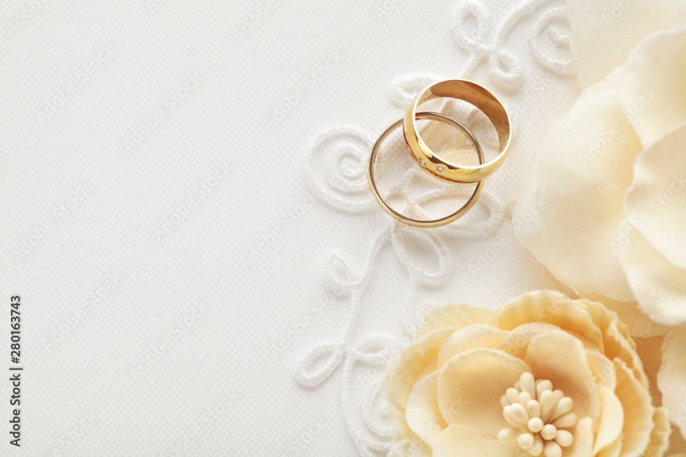 Fototapeta wedding rings, wedding invitation background