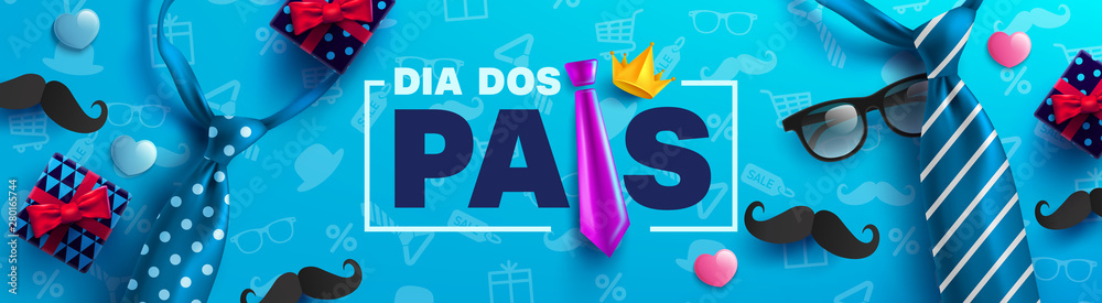 Fototapety, obrazy: Happy Father's Day card in portuguese words with necktie,glasses and gift box for dad on blue.Promotion and shopping template for Father's Day.Vector illustration EPS10