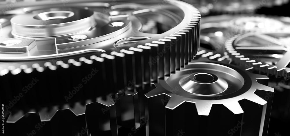 Fototapeta Mechanism, gears and cogs at work. Industrial machinery