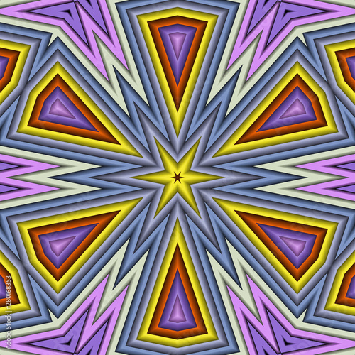 Photo Stands Psychedelic 3d effect - abstract colorful hexagon graphic