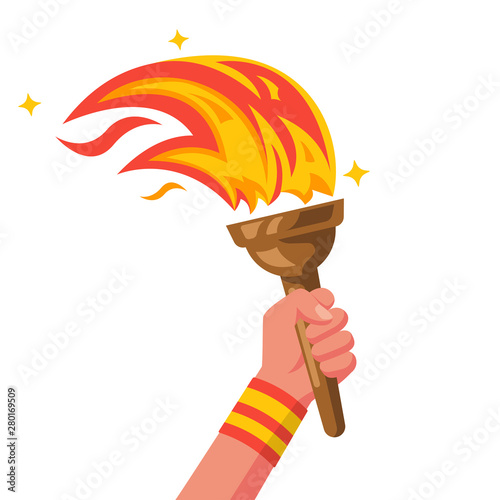 Cuadros en Lienzo Hand with flaming torch