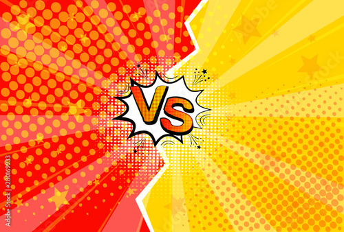 Photo sur Aluminium Pop Art Pop art retro comic. Yellow and red background. Versus lightning blast halftone dots. Cartoon vs. Vector Illustration