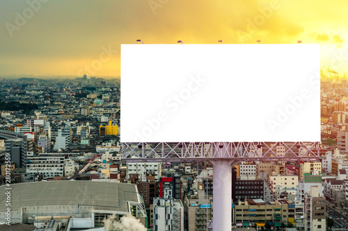 Pinturas sobre lienzo  large Blank billboard ready for new advertisement with sunset