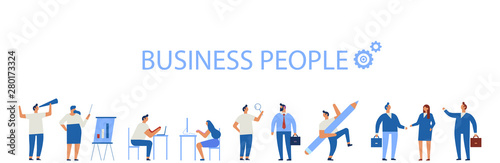 Obraz Business People horizontal banner. Business team. Teamwork, brainstorming. Success. Men and women. Flat vector characters isolated on white. - fototapety do salonu