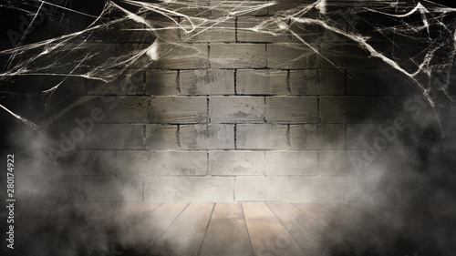 Cadres-photo bureau Automne Halloween background. Background of old brick wall, cobweb, smoke, concrete floor