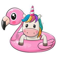 Cartoon Unicorn Swimming On Pool Ring Inflatable Flamingo