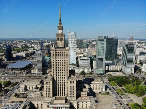 Fototapeta Amazing view from above. The capital of Poland. Great Warsaw. city center and surrondings. Aerial photo created by drone. Palace of culture and science. obraz