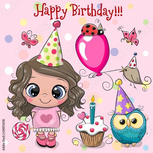 Stampa su Tela Cute Girl, owl and bird with balloon and bonnets