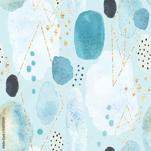 Tapety turkusowe  seamless-abstract-pattern-with-colorful-watercolor-spots-and-decorative-elements-of-golden-texture-vector-handmade-illustration-on-turquoise-background