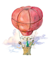 Balloon Flight Is Illustrated With Watercolor