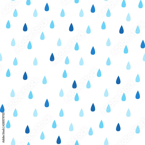 obraz lub plakat Seamless vector pattern with rain drops. Spring abstract background in shades of blue.