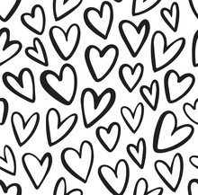 Seamless Heart Pattern In Doodle Style. Hand Drawn Abstract Vector Background. Black And White.
