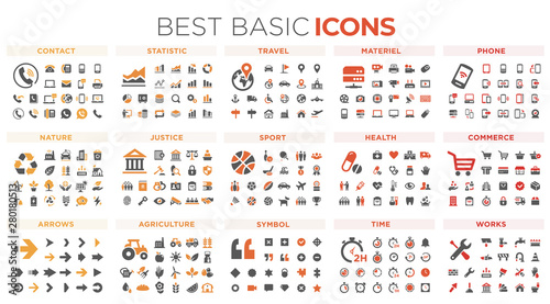 Canvas Prints Height scale Basic icons