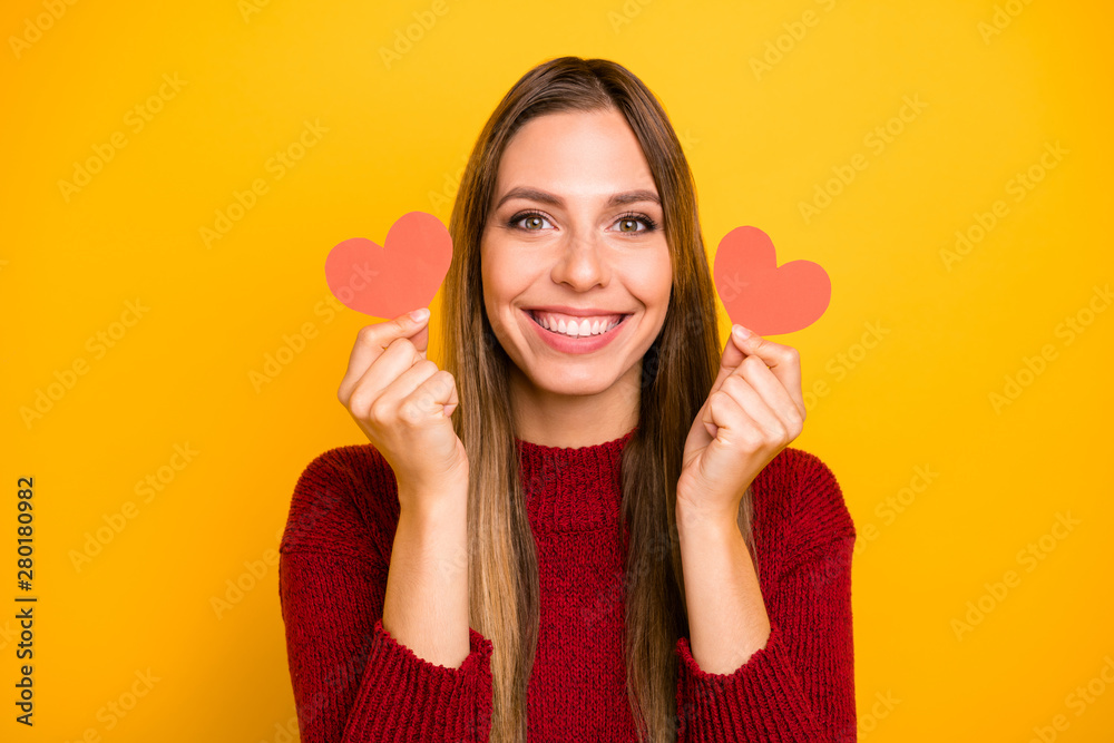Fototapety, obrazy: Closeup photo of pretty lady holding arms little heart figured postcards wear pullover isolated yellow background