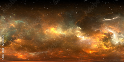 Photo 360 degree stellar system and gas nebula
