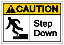 Caution Step Down Symbol Sign,...