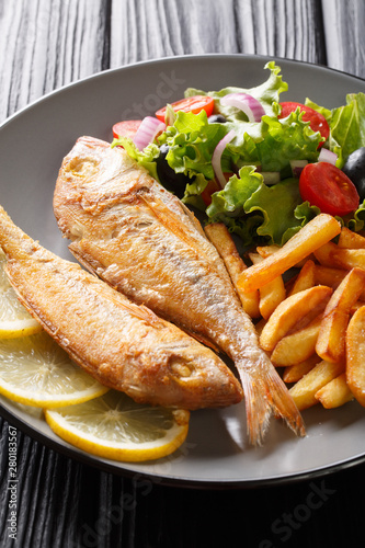 Fototapeta Tasty fried pink dorado or gilt-head bream fish with french fries and vegetable salad close-up on a plate