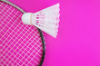 canvas print picture - A shuttlecock and badminton racket on a bright pink background. Copy space. Amateur accessories for playing badminton. Flat lay, minimalism, top view.