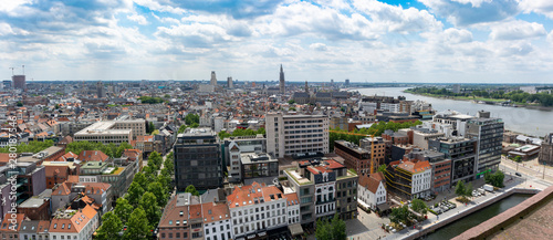 Spoed Foto op Canvas Antwerpen Cityscape, old Belgian city Antwerpen, view from above