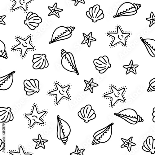 Photo Shell and sea star doodle hand drawn seamless pattern