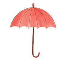 Watercolor Autumn Coral Umbrella Isolated On White Background