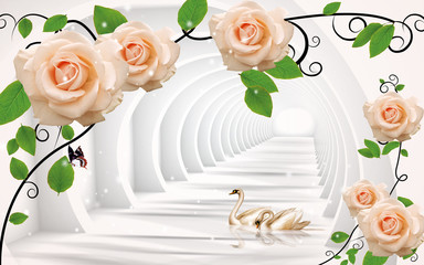 Fototapeta Róże 3d illustration, white round tunnel, curly beige roses, a pair of swans in the water