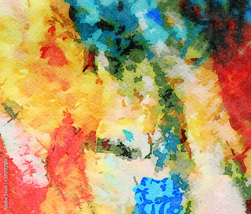 Fototapety, obrazy: Abstract watercolor background with wet paint splashes on paper, graphic painting texture with art elements and effects