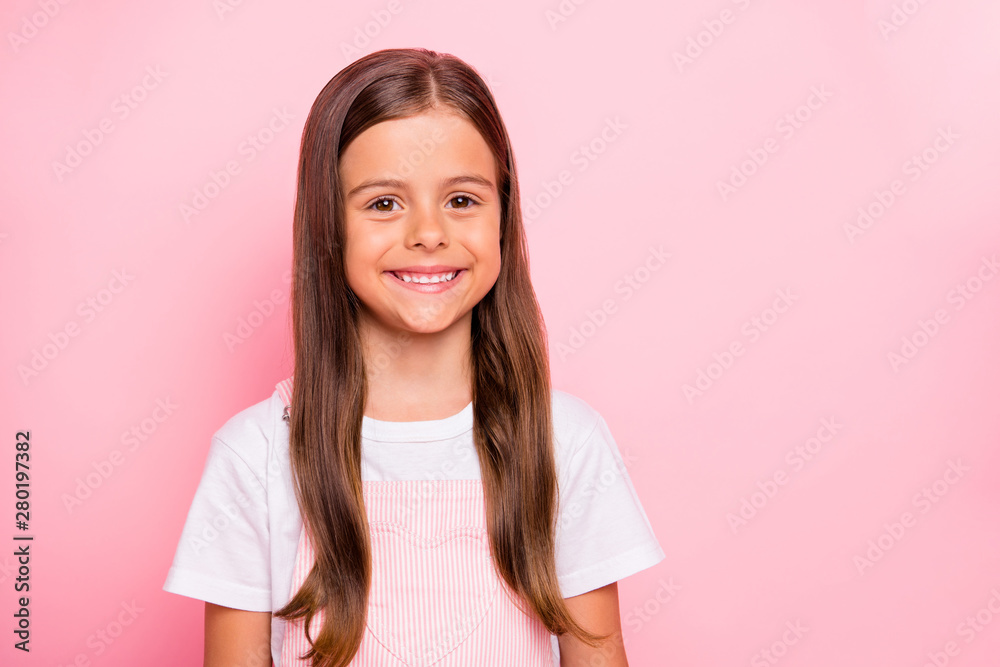 Fototapety, obrazy: Closeup photo of little cute lady brown hair holidays mood leisure time wear rose overall white t-shirt isolated pink background