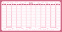 Yearly Wall Calendar Planner Template For Year 2020.