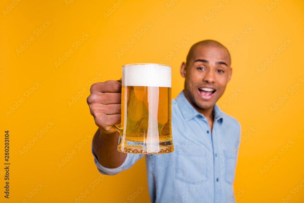 Fototapety, obrazy: Photo of dark skin amazing guy hold hands beer glass let's celebrate expression wear jeans denim shirt isolated yellow background