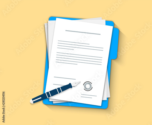 Fototapeta Document, folder with stamp and text. Contract papers. Document. Flat design. Contract icon agreement pen. obraz