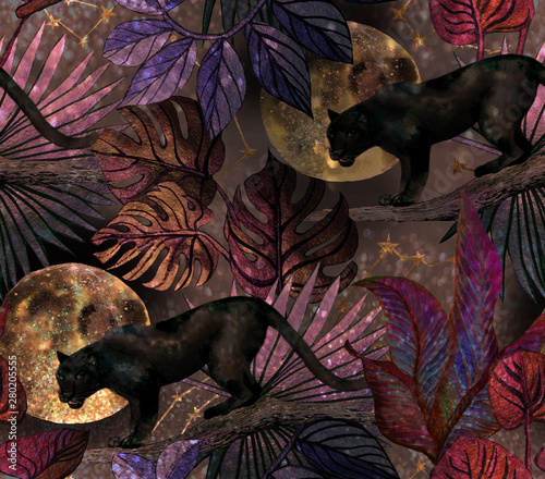 Tropical pattern with panther, moon and stars. Seamless wallpaper with tropical leaves, wild cat, at night