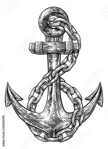 Canvastavla An anchor from a boat or ship with a chain wrapped around it tattoo or retro sty