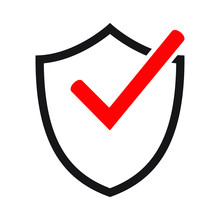 Shield Icon With Red Check Mark