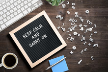 "Letter Board With Message ""keep Calm And Carry On"""