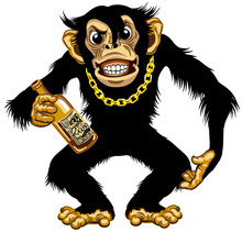 Cartoon Chimpanzee Great Ape With Golden Chain On The Neck And Holding Empty Bottle Of Rum. Aggressive Chimp Monkey After Drinking Alcohol. Standing Dangerous Pose. Isolated Vector Illustration