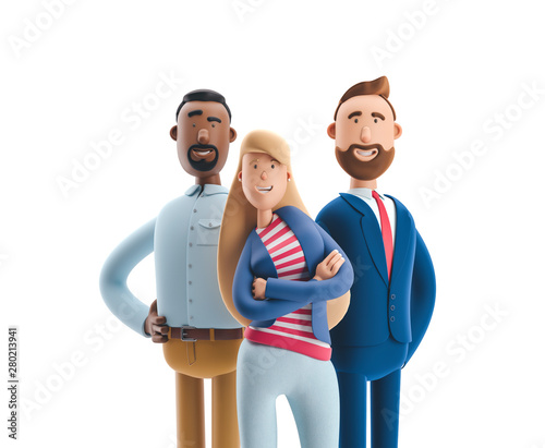 3d illustration. Group of happy business people standing on a white background. Stanley, Emma and Billy.