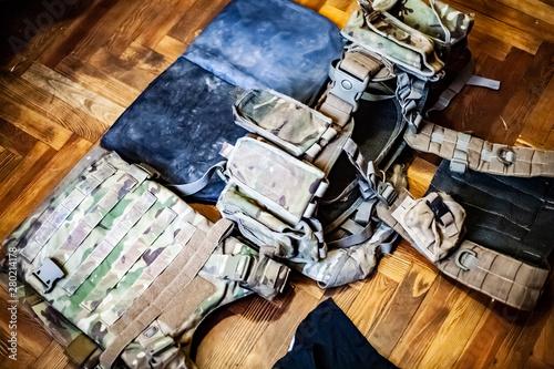 Body armor, plates, body kit and balaclava. Military. Wallpaper Mural