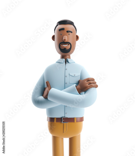 3d illustration. Businessman Stanley stand on white background. Fotomurales
