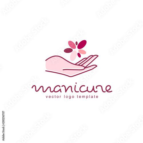 Slika na platnu Vector logo design for manicure and nail salon